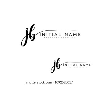 J B Initial handwriting logo vector. Hand lettering for designs.