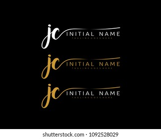 J C Initial handwriting logo vector. Hand lettering for designs.