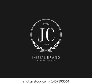 J C JC Beauty vector initial logo, handwriting logo of initial signature, wedding, fashion, jewerly, boutique, floral and botanical with creative template for any company or business.