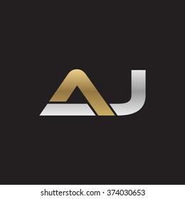 J company linked letter logo golden silver black background