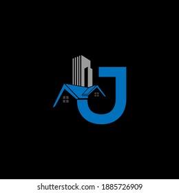 J CONSTRUCTION HOUSE Unique abstract geometric logo design