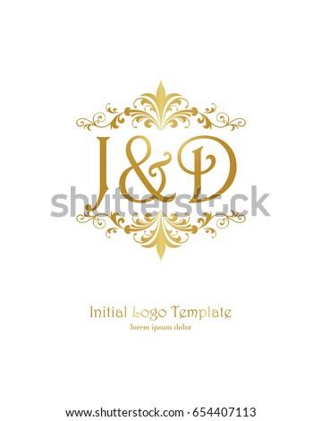 j d initial wedding logo template stock vector royalty free