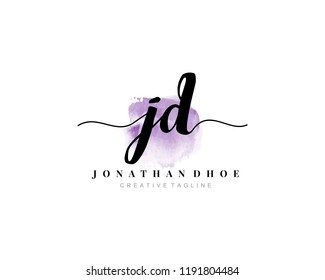 J D JD Initial watercolor logo on white background. Logo template vector