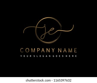 J E Initial handwriting logo vector