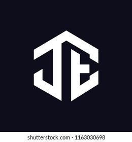 J E Initial letter hexagonal logo vector