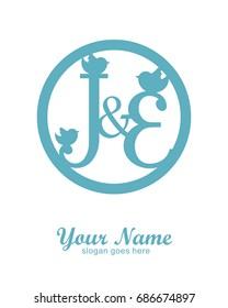 J E initial wedding decorative logo template
