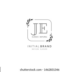 J E JE Beauty vector initial logo, handwriting logo of initial signature, wedding, fashion, jewerly, boutique, floral and botanical with creative template for any company or business.