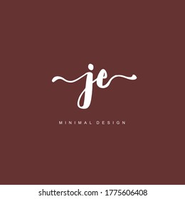 J E JE Initial handwriting or handwritten logo for identity. Logo with hand drawn style.