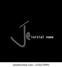 J e Je Initial logo. handwriting template vector