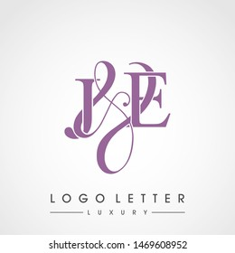 J & E / JE logo luxury initial vector mark template.