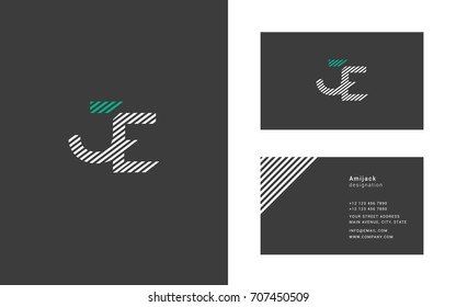 J E joint logo design vector with business card vector