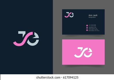 J & E Letter logo design vector element  with Business card template