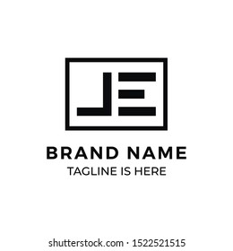 j and e letter vector business logo
