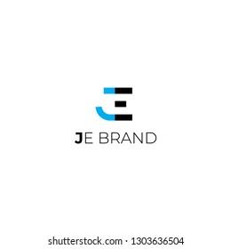 J, E letters vector logo