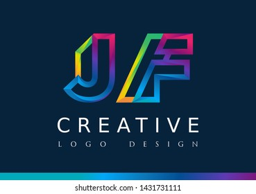 J F Logo. JF Letter Design Vector with Magenta blue and green yellow color.