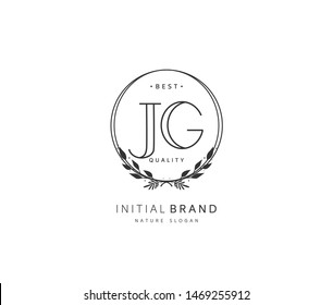J G JG Beauty vector initial logo, handwriting logo of initial signature, wedding, fashion, jewerly, boutique, floral and botanical with creative template for any company or business.