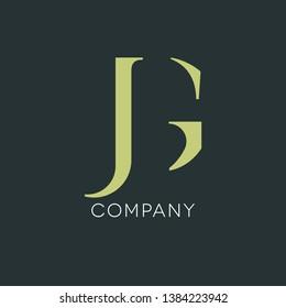 J G logo design. Monogram JG