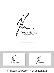 J H JH initial handwriting logo template vector.  signature logo concept