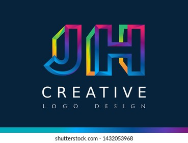 J H Logo. JH Letter Design Vector with Magenta blue and green yellow color.
