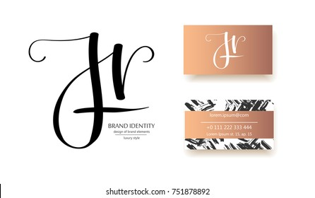 J, H and r letters combination logo. Company brand identity. Hand calligraphy logo. Business card template included. Classic style branding.