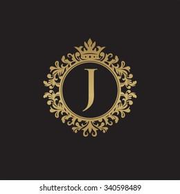 J initial logo. Luxury ornament crown logo.