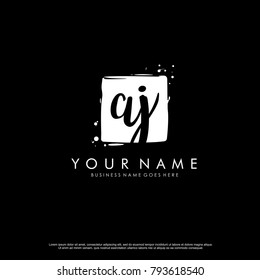 A J initial square logo template vector