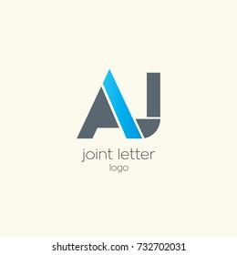 A J joint letter logo design template