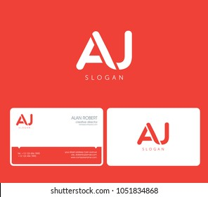 A & J joint logo round shape letters with business card template
