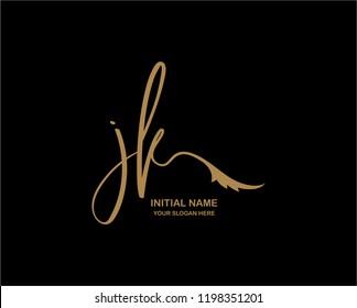 J K Initial Handwriting Logo Template