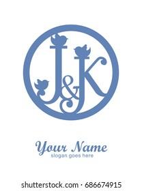 J K initial wedding decorative logo template