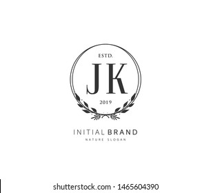 J K JK Beauty vector initial logo, handwriting logo of initial signature, wedding, fashion, jewerly, boutique, floral and botanical with creative template for any company or business.