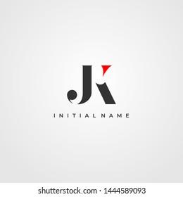 J & K / JK logo initial vector mark. Initial letter J and K JK logo. JK Initial name logo.