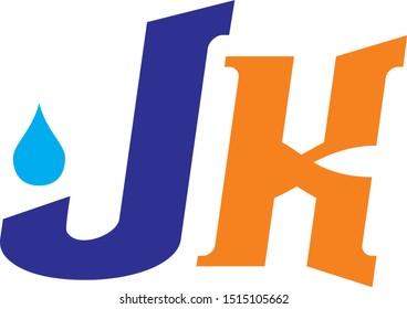 j k jk logo with water drop