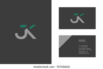 J K joint logo design vector with business card vector