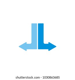 J L or double L or double J letter vector logo