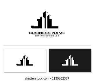 J L Initial building logo concept