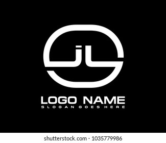 J L Initial circle logo template vector