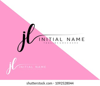 J L Initial handwriting logo vector. Hand lettering for designs.