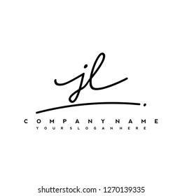 J L Initial handwriting logo vector