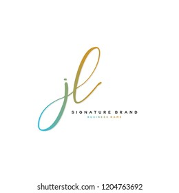 J L JL Initial letter handwriting and  signature logo concept design