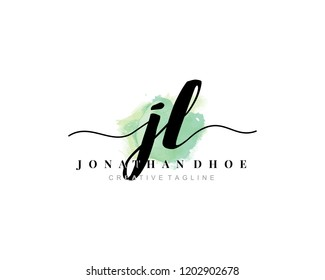 J L JL Initial watercolor logo on white background. Logo template vector