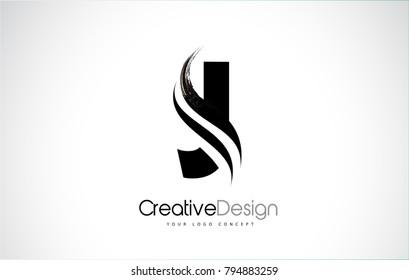 J Letter Design Brush Paint Stroke. Letter Logo with Black Paintbrush Stroke.
