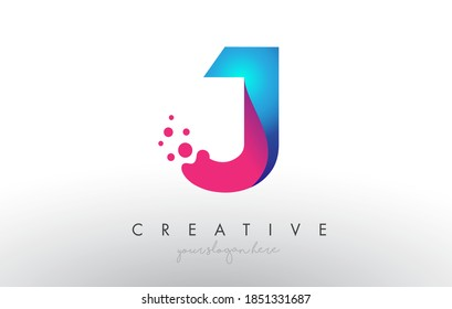 J Letter Design with Creative Dots Bubble Circles and Blue Pink Colors Vector Illustration.