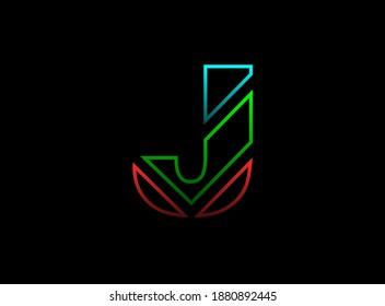 J letter font, vector design logo. Dynamic, rgb split-color, red, green, blue on black background. Eps10 illustration