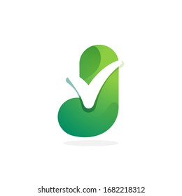 J letter green logo with check mark inside. Perfect for approve labels, quality print, verification posters etc.