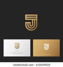 J letter. J linear logo. G gold monogram, isolated on a dark background.  Identity. Business card.