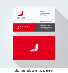 J Letter Logo Modern Simple Abstract. Corporate Business card design template