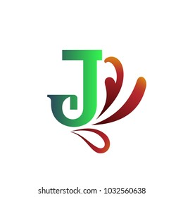 J letter logo with splash and drops. Creative vector design template elements for your application or corporate identity