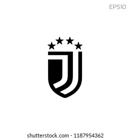 J letters initial football like a Juventus with shield and four star 31b632b77