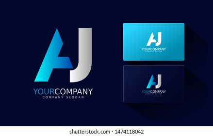 A J Logo and business card. AJ Letter modern Design Vector with blue and silver gradient color.